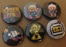 "BOMBERMAN  lot of 6 1"" Pins Buttons Pinbacks NINTENDO NES bomber man sega"