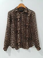 [ PETER MORRISSEY ] Womens Leopard Button Up Blouse Top Sleeveless | Size AU 8