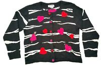 Jack B Quick Womens Black White Cardigan L Embellished Valentines Hearts Knit