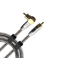 Premium Audio Cable Angle RCA Phono Male to Male Amplifier Subwoofer Cable