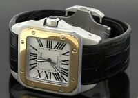 Cartier Santos 2656 SS/18K gold automatic men's watch w/ box & papers