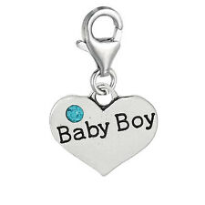 """Clip on Charm"""" Baby Boy"""" Heart for chain necklace or Bracelets 2729"""