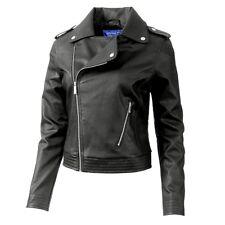 Adidas Leather Biker Jacket Damen Leder Jacke Kunstleder Jacke Slim Fit schwarz