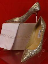 Jimmy Choo Agnes Champagne Glitter Fabric Pointy Toe Mirror Heel PUMPS 41