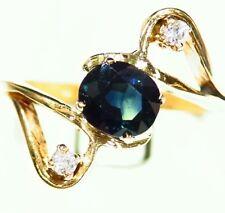 1.75CT 14K Gold Natural Sapphire Round Diamond Vintage Engagement Ring Retro