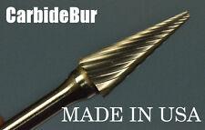 "New Carbide Burr Sm-51 Single Cut 1/8"" Cone Point Deburring Tool Bit"