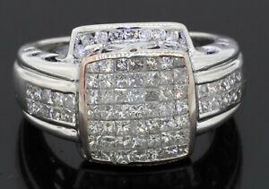 Heavy 14K WG amazing 3.81CTW Princess diamond cluster men's ring size 10