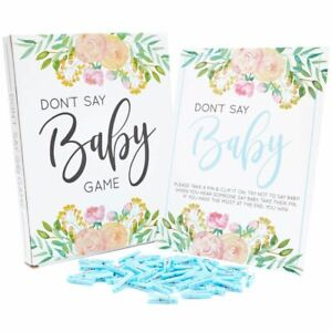 DON'T SAY BABY Game for Boy Baby Shower, 1 Blue Floral Sign & 60 Mini Clothespin