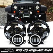 """DOT 7"""" LED Headlight Fog Light Halo DRL Signal For Jeep Wrangler JK 07-18"""