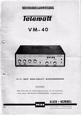 Bedienungsanweisung mit Schema-Anleitung für Klein Hummel Telewatt VM-40