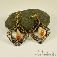 Natural Stone Citrine Crystal Point Brass Wire Wrap Handcrafted Earrings