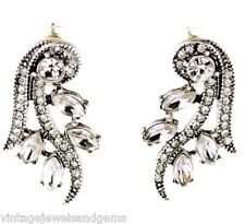 CLEAR WHITE CRYSTAL RHINESTONE & Silver Victorian Art Deco Dangle Drop Earrings