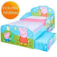 PEPPA PIG TODDLER JUNIOR BED WITH STORAGE KIDS + DELUXE FOAM MATTRESS