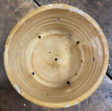 Faisselle Terre Cuite Vernissée Jaune Pot à Graisse Ancien Service Poterie Plat