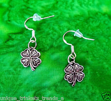 VINTAGE STYLE SILVER IRISH SHAMROCK EARRINGS~ST PATRICKS DAY GIFT~STERLING HOOK