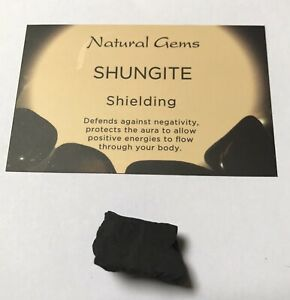 1  Small Natural Piece of Shungite  with free organza bag and crystal card