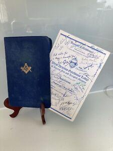 Freemason Bible 1970+ Menu At Installation(Signed)West Drayton Gatehouse Staines