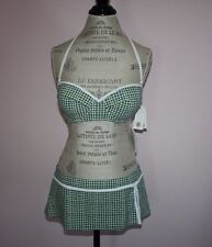 NWT Womens Tory Burch Double Blocks Green/White 2-Piece Swimsuit Size Large