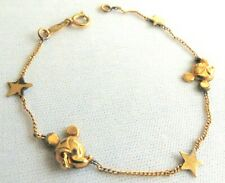 "Vintage MICKEY MOUSE Van Dell 14 K Gold Fill Child's Bracelet 5.5"" Long Signed"