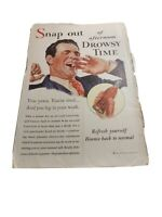 COCA COLA Ad Advertisement VINTAGE 1933 SNAP OUT OF AFTERNOON DROWSY TIME c409
