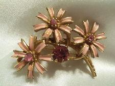 BEAUTIFUL Goldtone PINK Enamel w/PINK Rhinestones FLOWER Cluster Brooch 14BR147