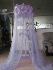 LILAC PURPLE ROSE EMBELLISHED PRINCESS BED CANOPY FREE SHIPPING FROM USA