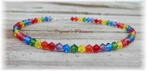 ~Rainbow Chakra~ Swarovski Element Crystals Bracelet and/or Ankle Bracelet