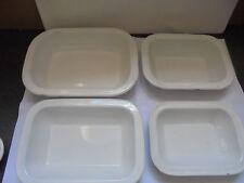 27710 4x Emaille Schalen Set Schüsseln VEWAG Labor sehr gut  bowls enamel weiß