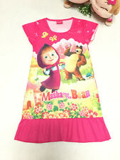 Kids Masha and the bear Top T Shirt Dress Nightwear Nightdress Pyjamas clothes