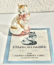 Franklin Mint Curio Cabinet Cats 1986 Staffordshire Figurine  With Booklet