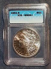 1882-S Morgan Silver Dollar ICG Graded MS66+ Gorgeous half toned/ frosty lustre