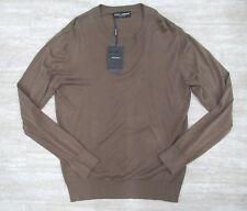 New! Dolce & Gabbana Men's Cotton Round Neck Sweater in Brown Size: 52 IT, Large