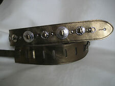 BRONZE  LEATHER  WITH SILVER CONCHO GUITAR STRAP