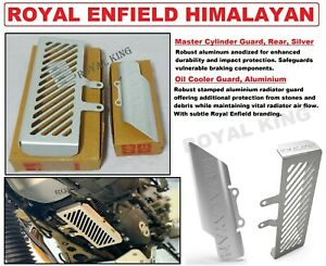 """Royal Enfield """"Oil Cooler Guard"""" Silver & """"Master Cylinder Guard"""" For Himalayan"""