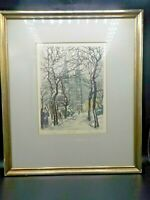 Antique N. Henry Goering Aquatint Etching Votivkirche Ringstrab Signed Framed