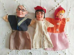 3 Grandi marionette burattini testa in gomma fiaba cappuccetto rosso vintage