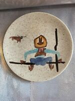 Red Wing Pottery Round Up Cowboy Hand Painted Dessert Plate Mid Century #238 EUC