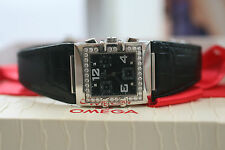 Omega Quadra 1847.55.11 28mm Diamante Bisel & Dial Chrono papeles 2010 9.8/10 Min