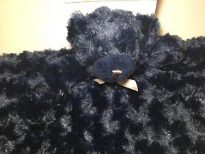 BLANKET BEYOND SECURITY BEAR NAVY BLUE ROSETTE Soft Silky Swirls Curls NEW