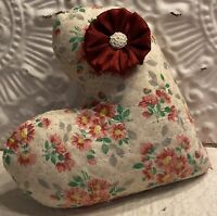 New Handmade Quilt Heart Pillow  Vintage Quilt   Fabric Flower  Valentine's Day
