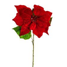 Poinsettia Single Stem Glitter Red Velvet Christmas Flower 74cm