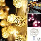 20 LED Multi-Colour Rattan Ball String Fairy Light Wedding Party Home Decor 2.2M