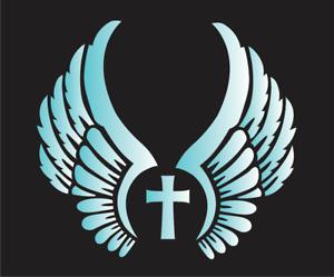 Joanie Stencil Angel Wings Cross Christian Farmhouse Family Faith DIY Craft Sign