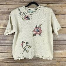 Colleens Collectables Womens Vintage Sweater Short Sleeve Ribbon Embroidered M