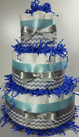 3 Tier Diaper Cake - Light Blue/Silver Chevron- Boy Baby Shower Centerpiece