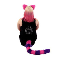 PAWSTAR Cheshire Cat Costume KITTY TAIL EARS Fur Alice Purple Pink [CLA] 4010