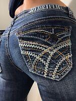 Hydraulic  low rise stretch  Capri Flap Distressed Denim Blue Jeans size 7 8