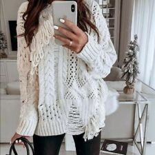 Zara Cream Knit Fringed Sweater Size S