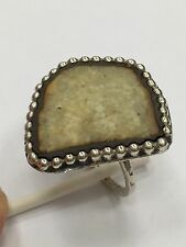 UNIQUE .925 STERLING SILVER BEADED STONE TILE RING SIZE 6 1/4