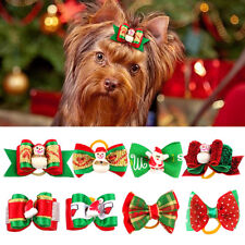 20/100pcs Christmas Xmas Dog Hair Bows Grooming Accessories for Pet Cat Yorkie